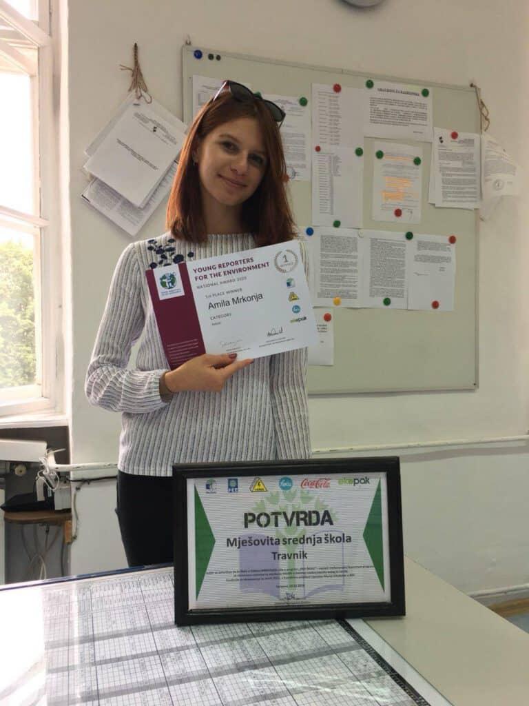 Nagrada za učenicu MSŠ Travnik na Državnom takmičenju Mladi eko reporteri!