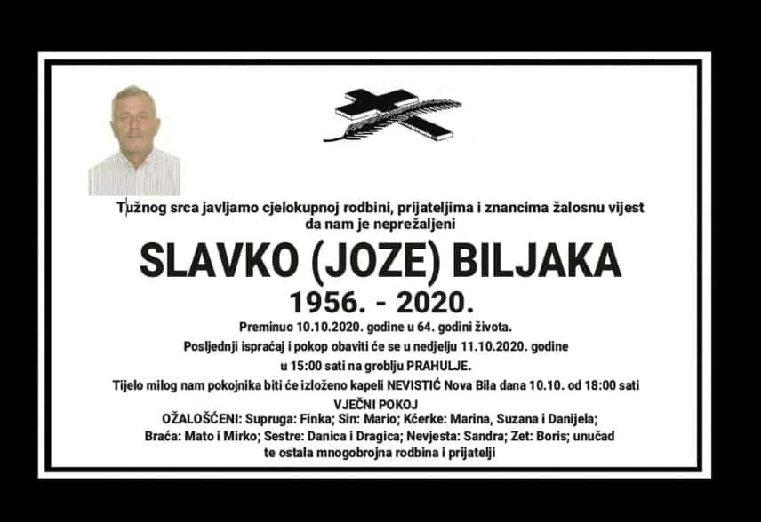 Preminuo Slavko (Joze) Biljaka