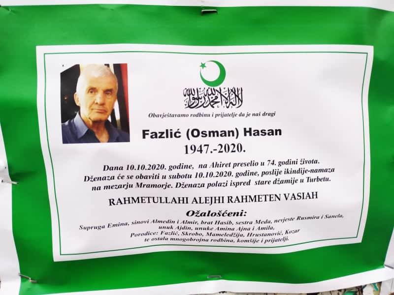 Preminuo Fazlić Hasan iz Turbeta