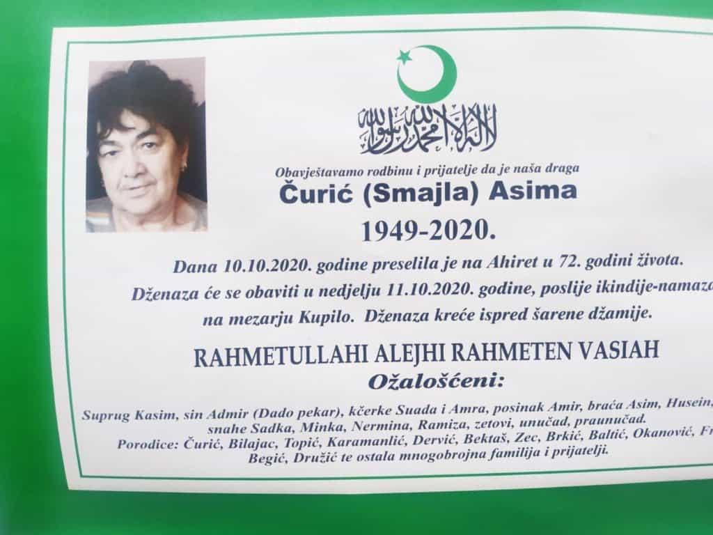 U 72. godini života preminula Čurić Asima