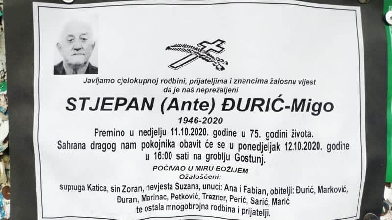 Preminuo Stjepan Đurić-Migo