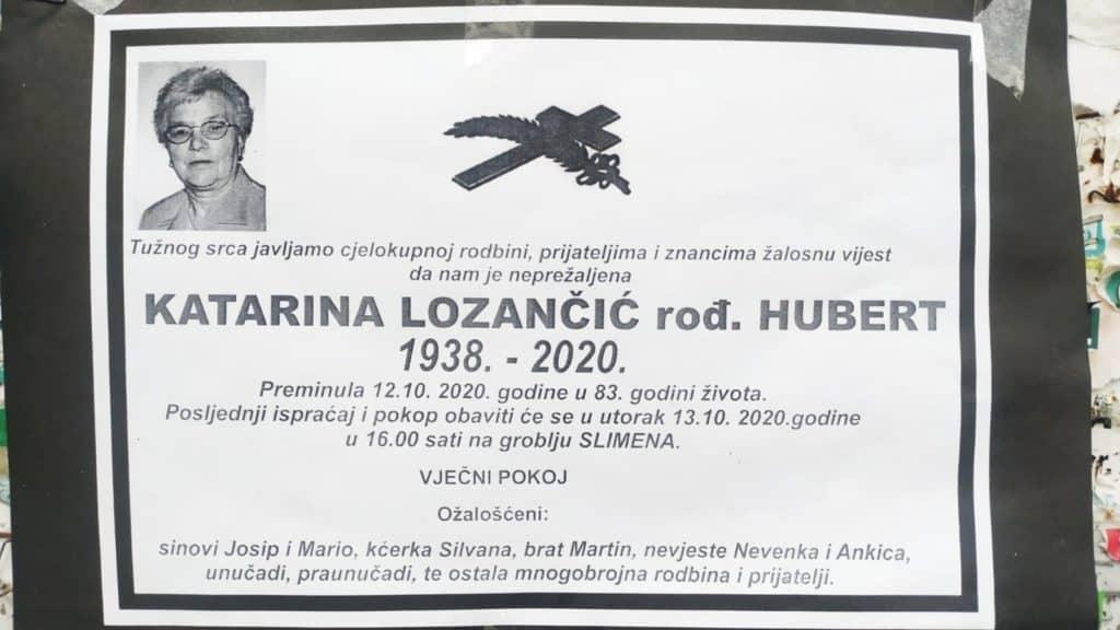 Preminula Katarina Lozančić rođ. Hubert