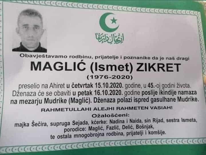 Preminuo Maglić Zikret iz Mudrika