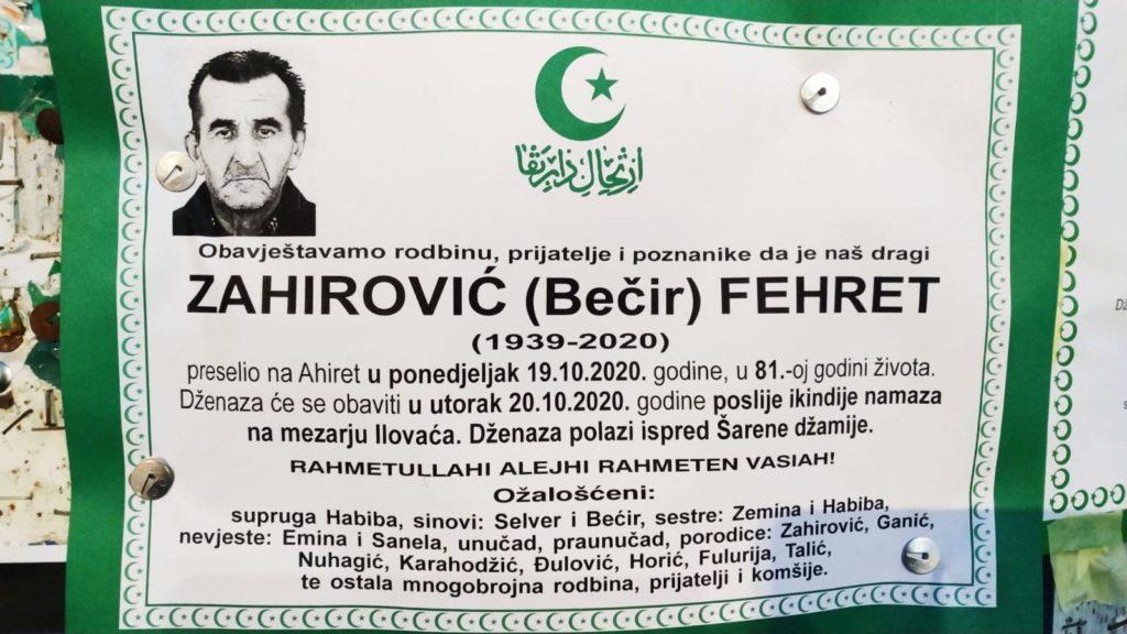 Danas dženaza Zahirović Fehretu