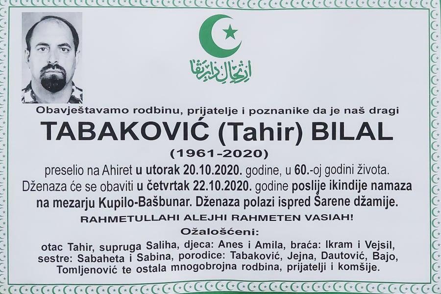 U 60.-oj godini života preminuo Tabaković Bilal