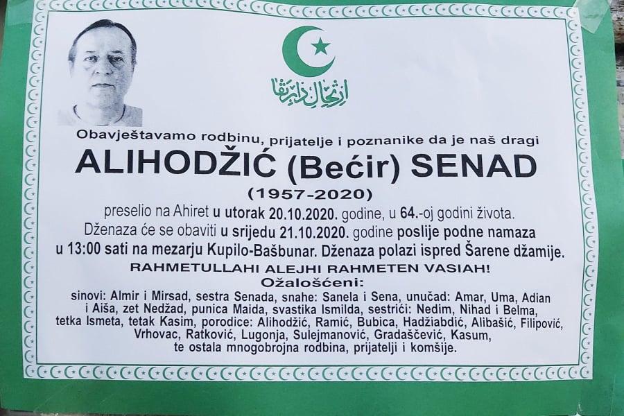 Sutra dženaza Alihodžić Senadu