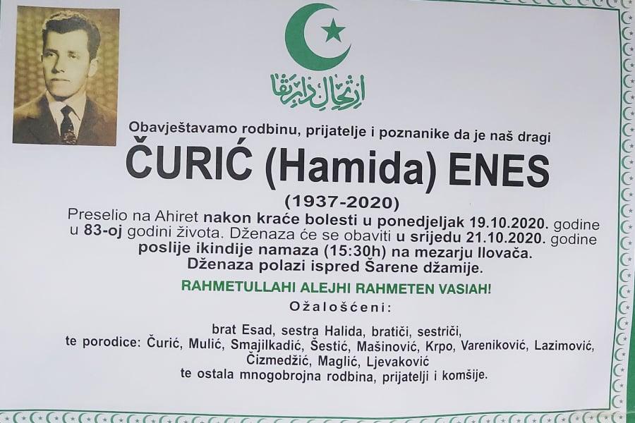 Preminuo Čurić (Hamida) Enes
