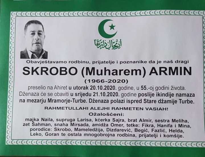 U 55.-oj godini života preminuo Skrobo Armin