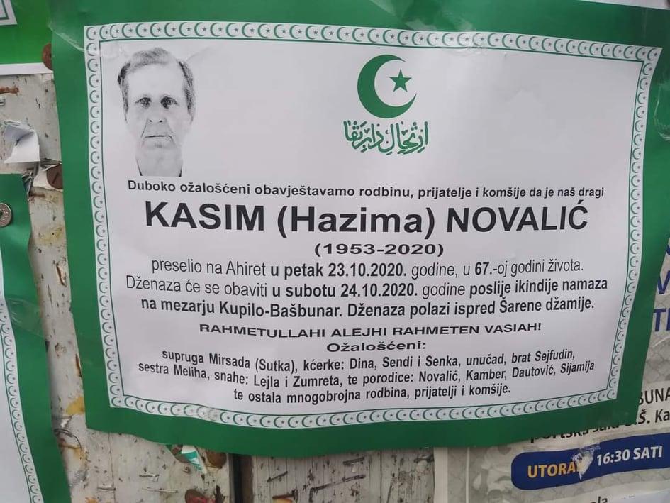 Danas dženaza Kasimu Novaliću