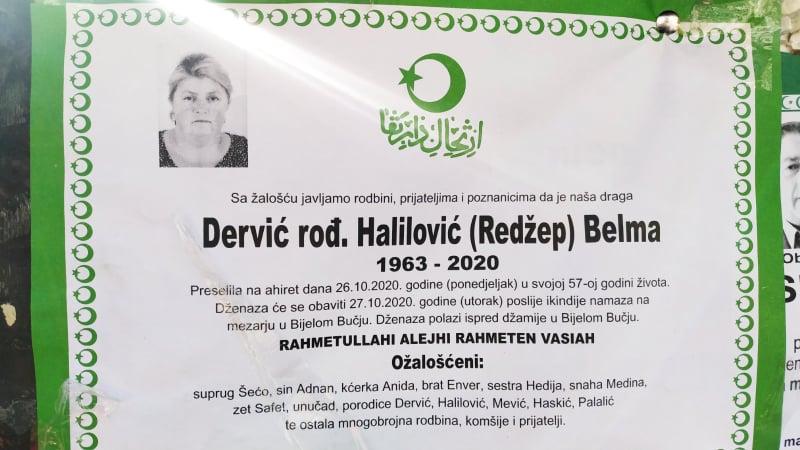 Preminula Dervić Belma iz Bijelog Bučja