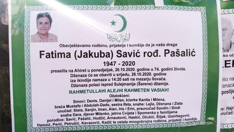 Preminula Fatima Savić rođ. Pašalić