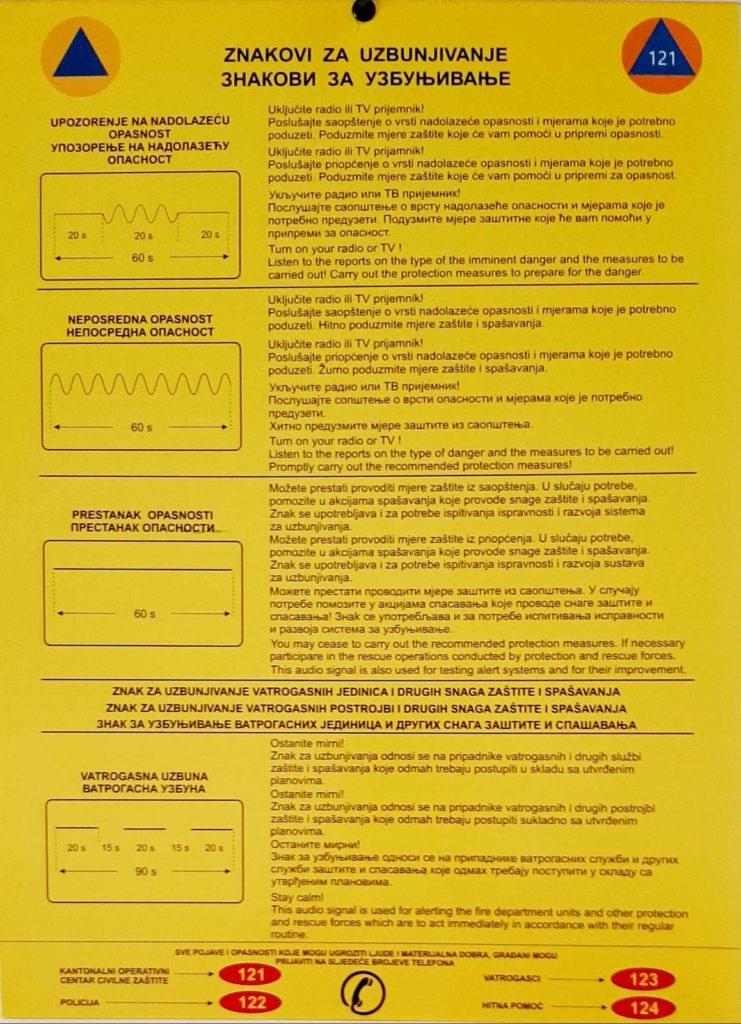 Travnik / Besplatno preuzmite štampani znak za uzbunjivanje
