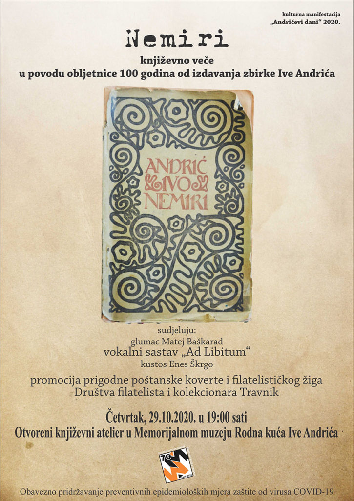"""Zavičajni muzej Travnik priređuje književno veče """"Nemiri"""""""