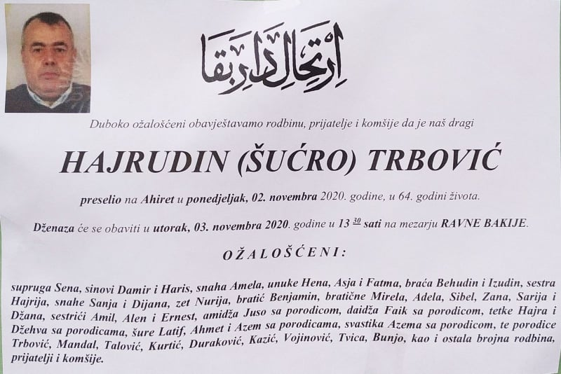 Danas dženaza Hajrudinu Trboviću