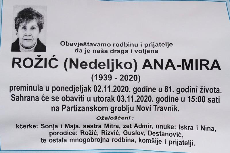 U Novom Travniku danas sahrana Rožić Ani-Miri