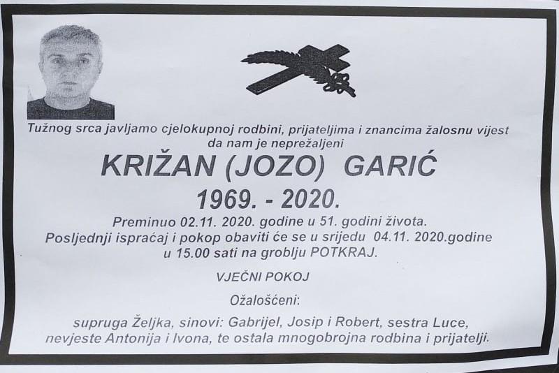 U 51. godini života preminuo Križan Garić