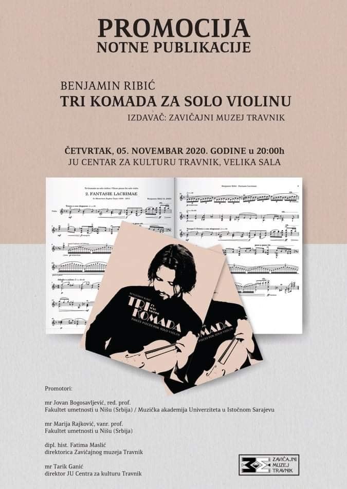 U četvrtak promocija knjige sa autorskim kompozicijama Benjamina Ribića