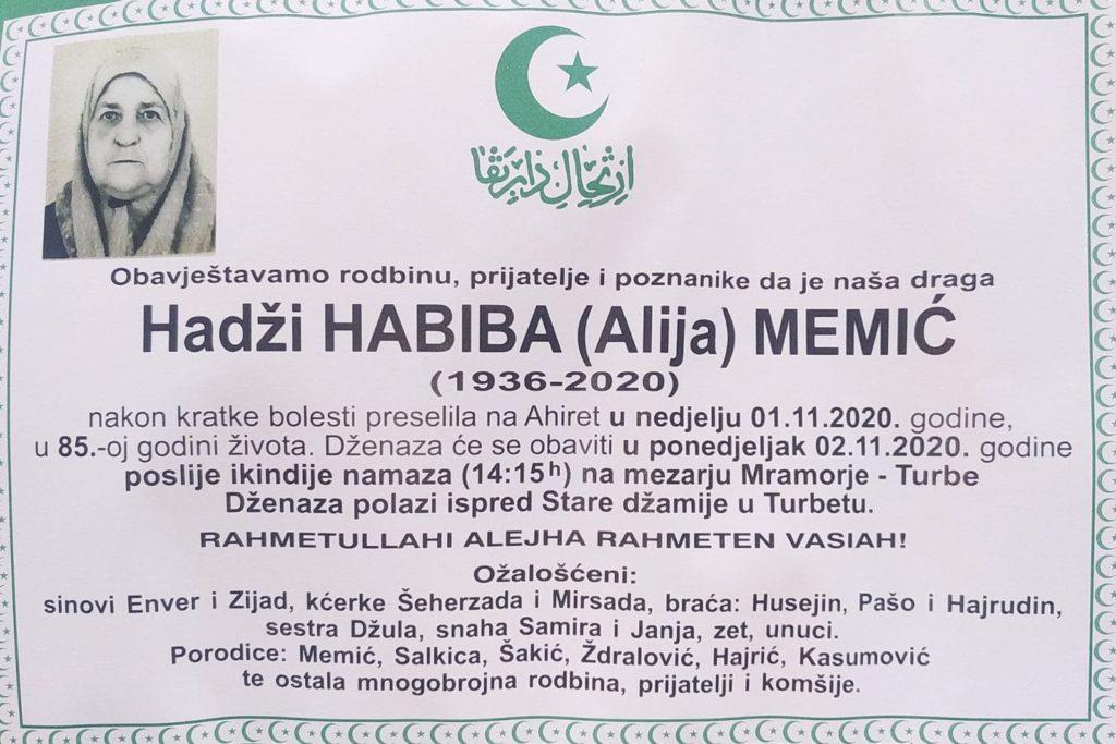 Preminula hadži Habiba Memić