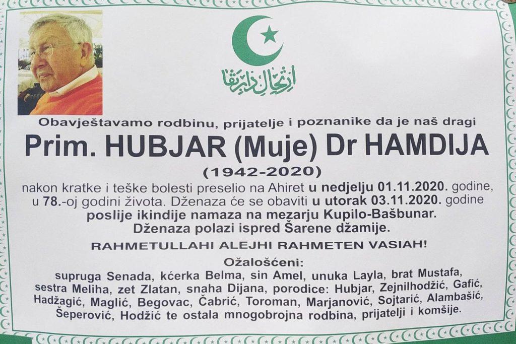 Sutra dženaza prim. dr. Hamdiji Hubjaru