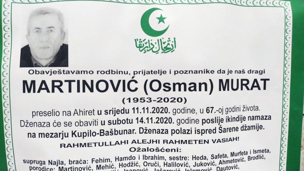 Preminuo Martinović Murat, dženaza sutra na mezarju Kupilo-Bašbunar