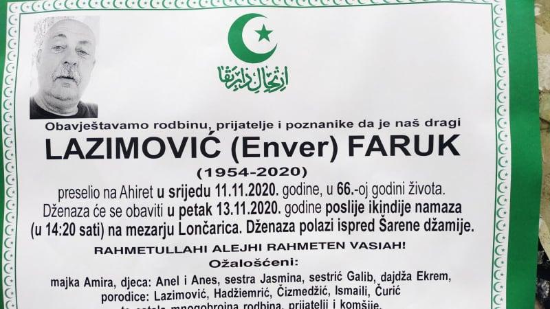 Preminuo Lazimović Faruk