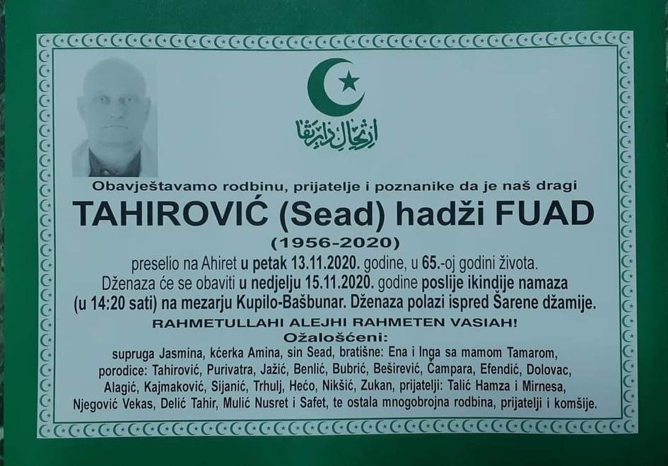 U 65.-oj godini života na Ahiret preselio hadži Fuad Tahirović