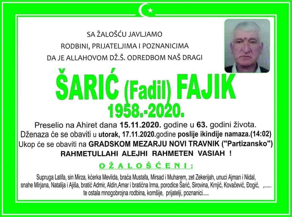 U Novom Travniku preminuo Šarić Fajik