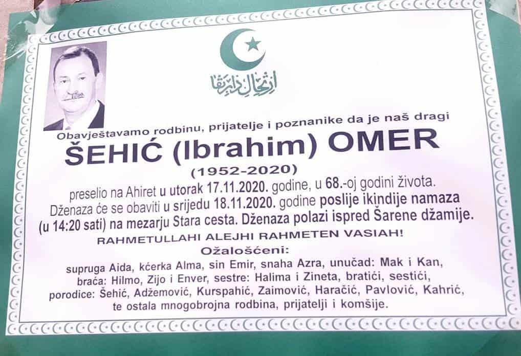 Preminuo profesor Omer Šehić
