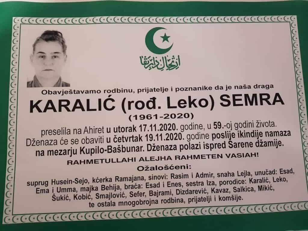 Preminula Semra Karalić