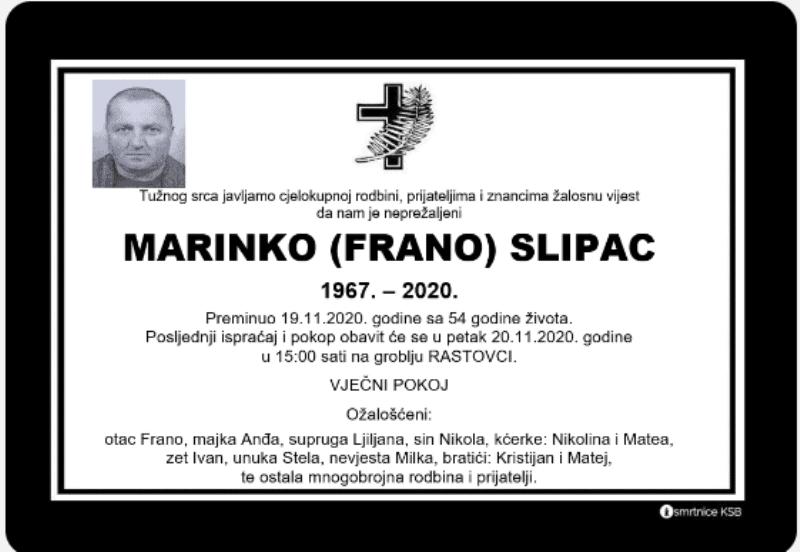 Preminuo Marinko Slipac