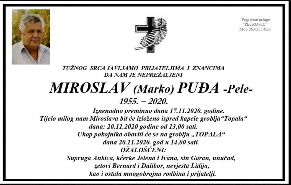 Danas sahrana Miroslavu Puđi