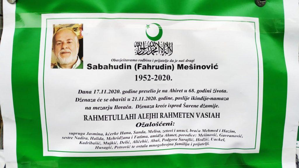 Preminuo Sabahudin Mešinović