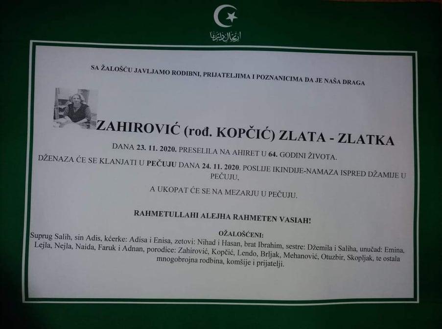 Preminula Zahirović Zlata
