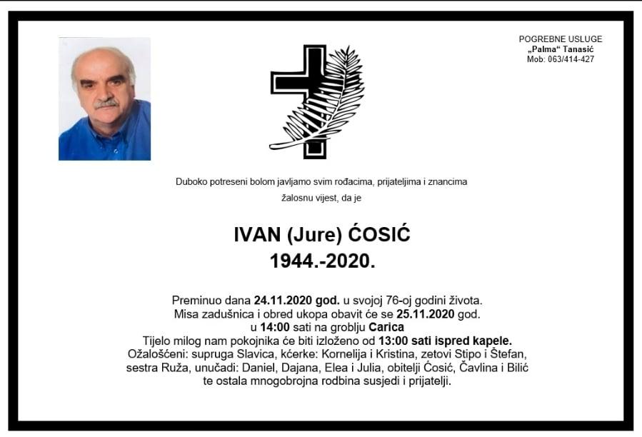 Preminuo Ivan (Jure) Ćosić