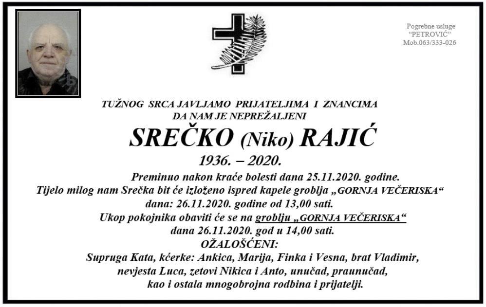Preminuo Srečko Rajić