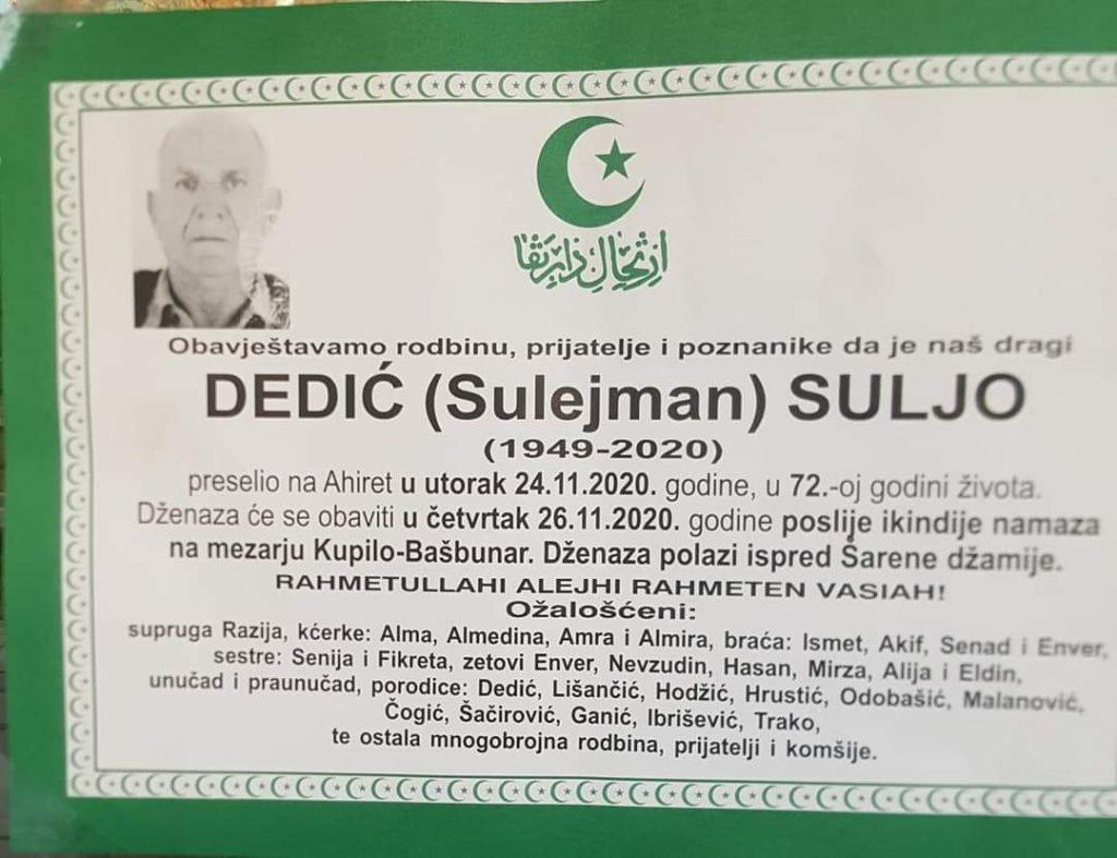 Preminuo Dedić Suljo