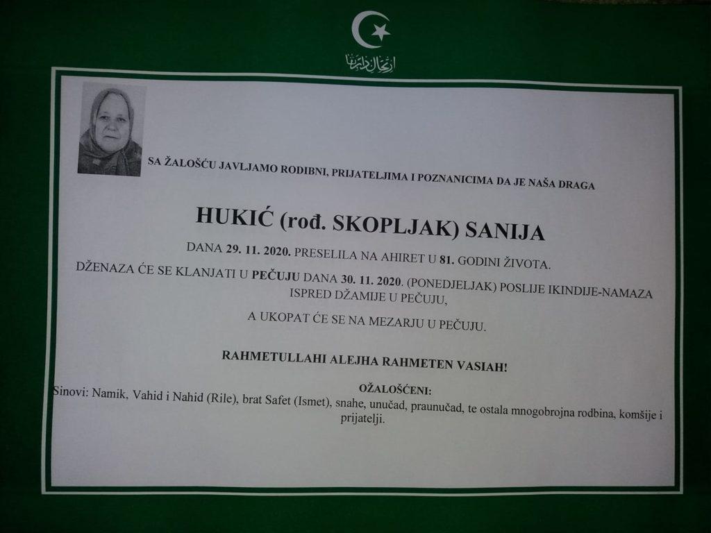 Danas dženaza Saniji Hukić