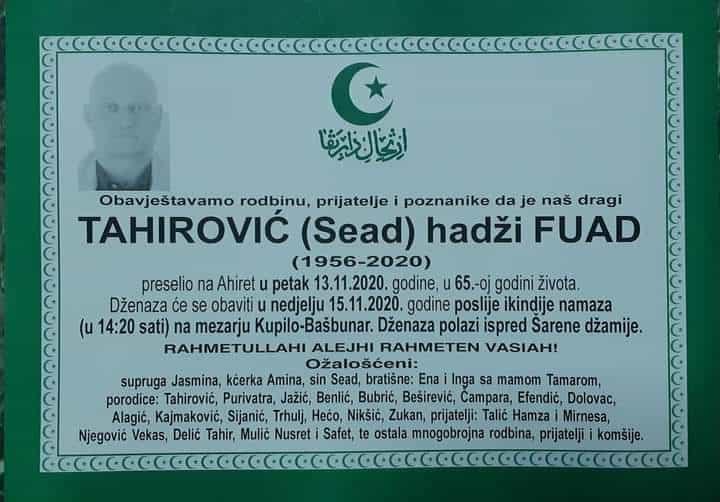 Uposlenici Općine Travnik oprostili se od svog kolege Fuada Tahirovića