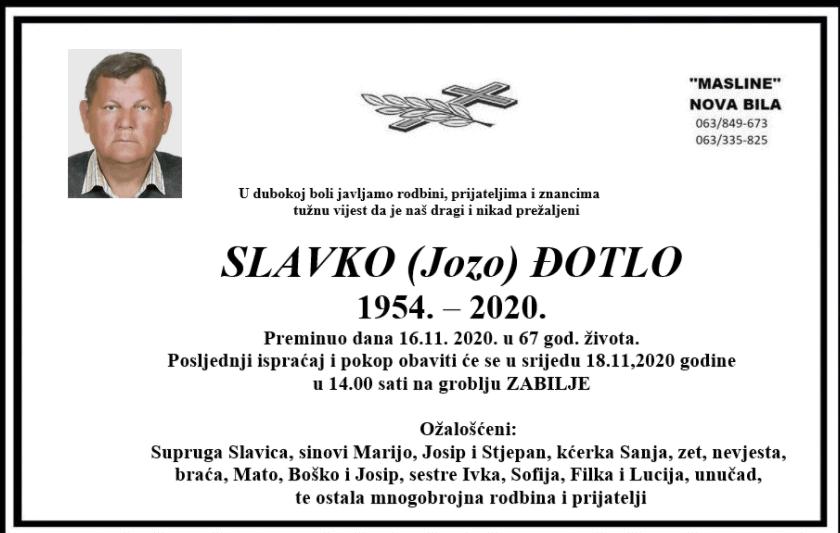 Preminuo Slavko Đotlo