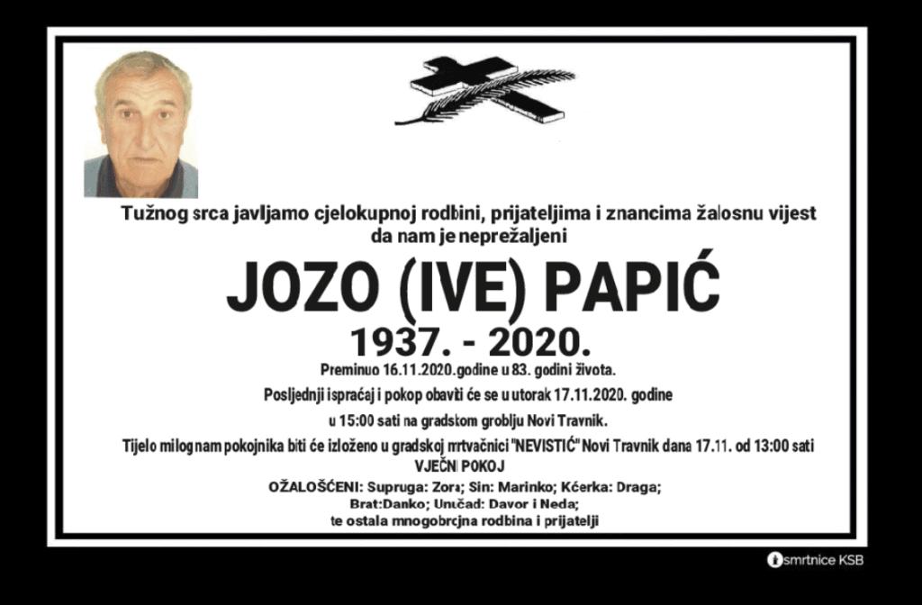 Preminuo Jozo Papić