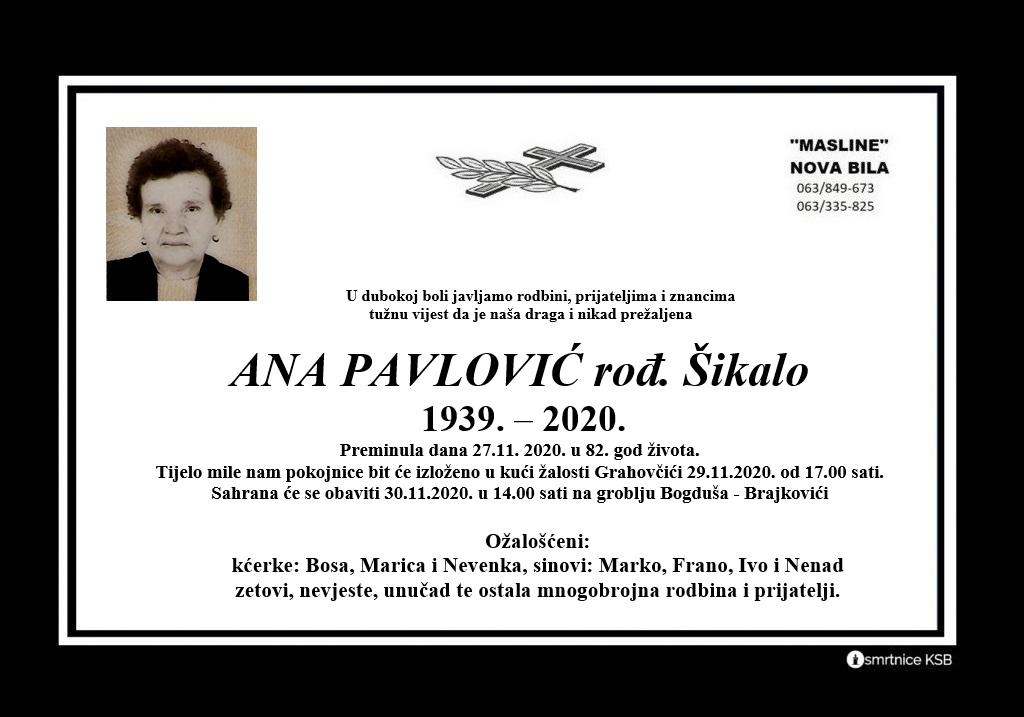 Preminula Ana Pavlović