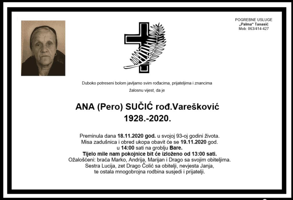 Preminula je Ana Sučić