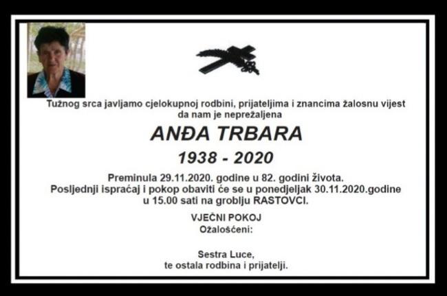 Preminula Anđa Trbara