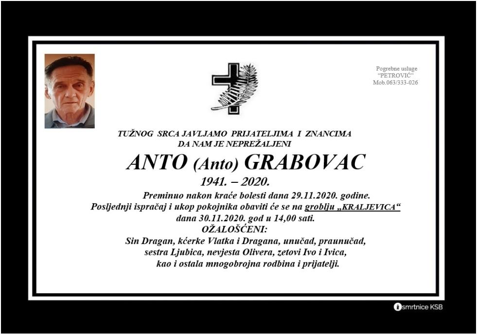 Preminuo Anto Grabovac
