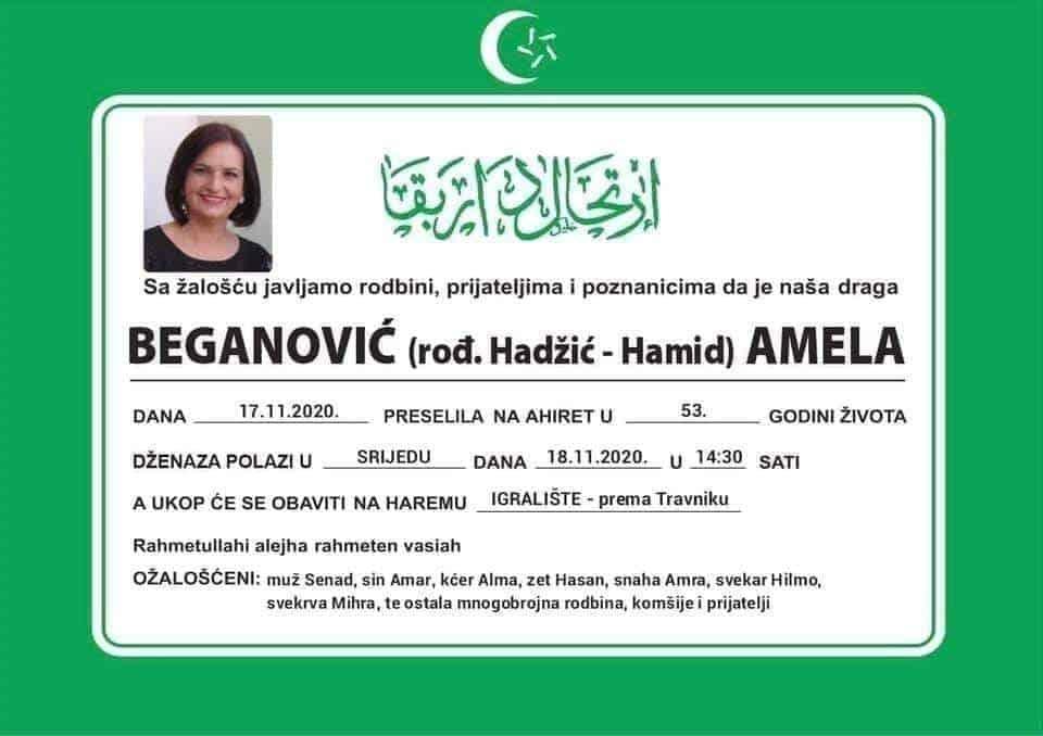 Preminula Amela Beganović iz Bugojna