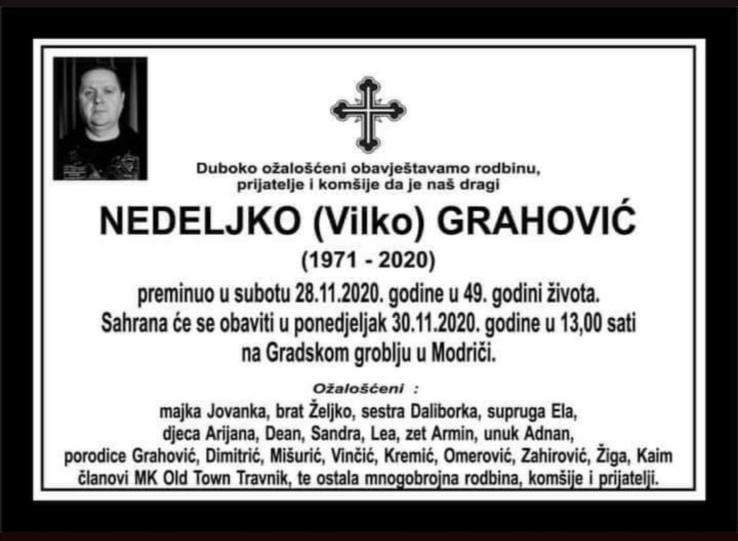 Preminuo je Nedeljko Grahović, uposlenik MUP-a SBK