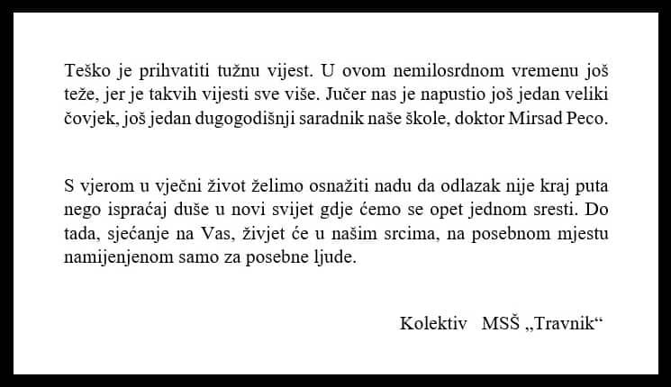 "Kolektiv MSŠ ""Travnik"" dirljivim tekstom oprostio se od dr. Mirsada Pece"