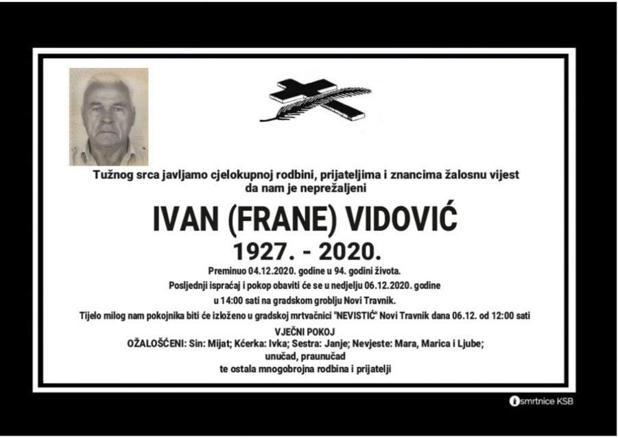 U 94. godini preminuo Ivan Vidović