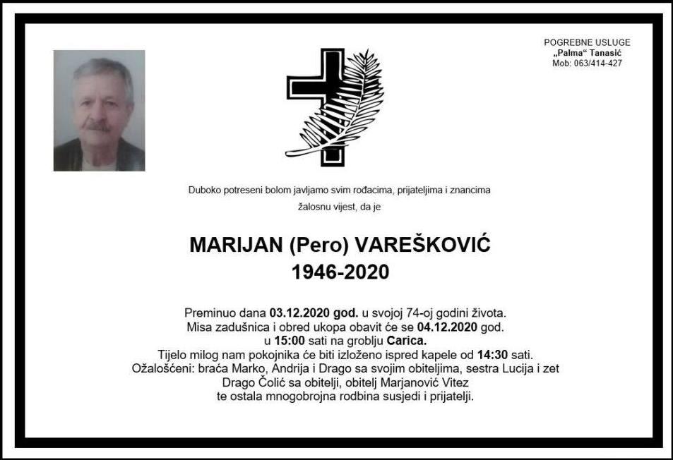Danas sahrana Marijanu Vareškoviću