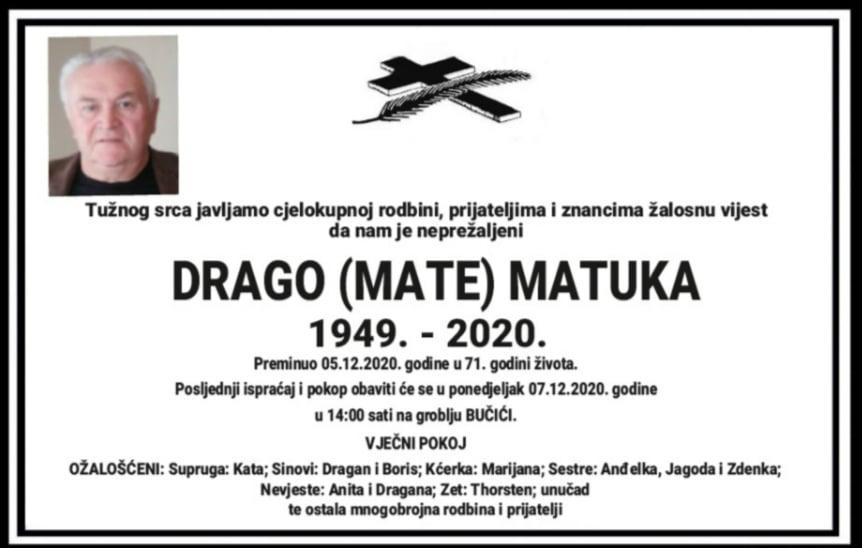 Preminuo Drago Matuka